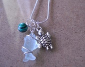 DISCOUNT Mermaid Jewelry Beach Glass Necklace- Fish & Turtle Charm Necklace- Wire-Wrapped Glass- Sea Glass Necklace- Nautical Jewelry