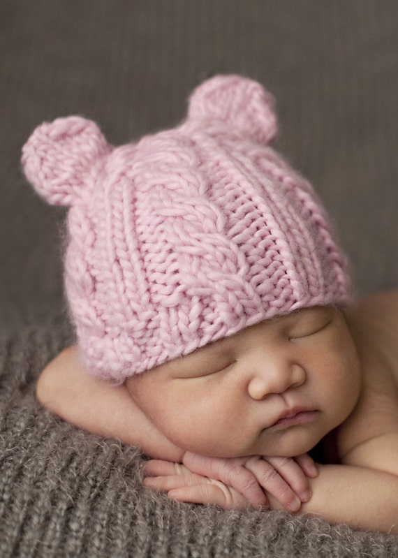 Items Similar To Julian Cable Bear Knit Baby Hat On Etsy