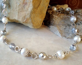 Freshwater White Pearl Beaded Necklace.Metal plate in sterling silver.Statement.Bridal.Valentine.Mother's.Birthday.Wedding.Gift.Handmade.