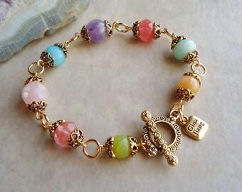 Multi Gemstone Bracelet.Amethyst.Jade.Quartz.Toggle.Gold.Silver.Beadwork.Bridal.Purple.Pink.Blue.Green.Pastel.Colorful.Holiday. Handmade.