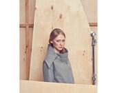 Wollmantel grau / Feder Fell / wolle grau Jacke / minimalistische Mantel / large Kragen