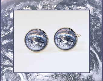 Earth Cufflinks with High quality descriptive Photo card. Earth Day gifts.