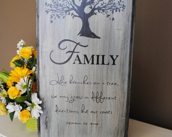 Family like branches on a tree we may grow in different directions, yet our roots remain as one. Perfect wood sign for your home!