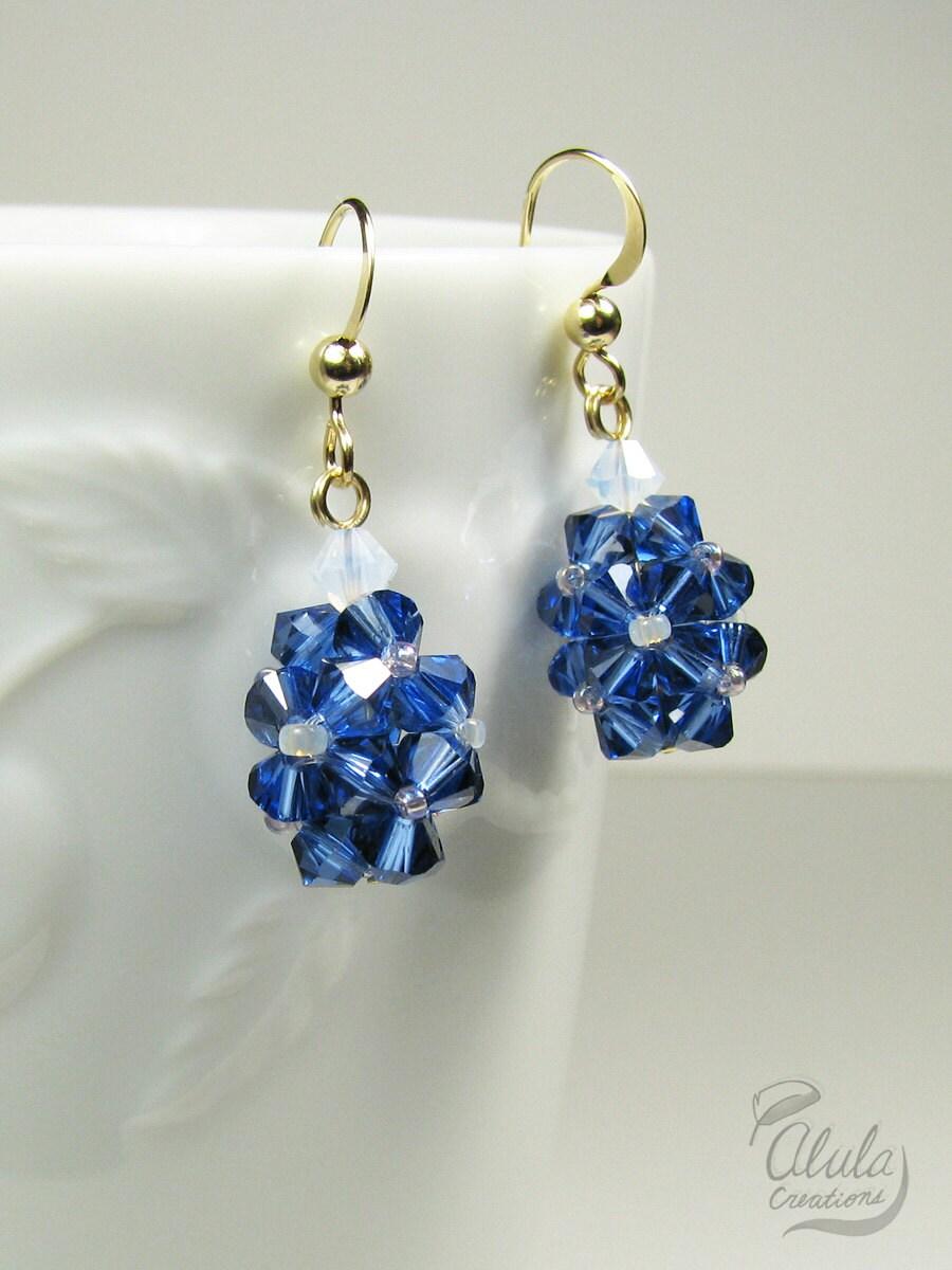 Dewdrops Earrings Swarovski Sapphire Drop Earrings Crystal