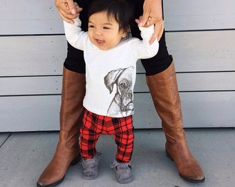 Red/Black Buffalo Plaid Leggings for Baby/Toddler Boy or Girl