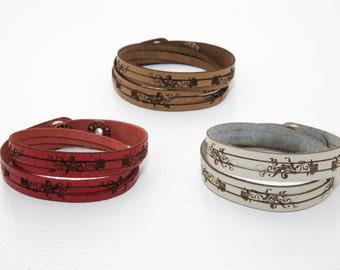 Roses double wrap slitted leather bracelet, laser cut leather cuff, leather wrap bracelet, Laser engraved rose bracelet