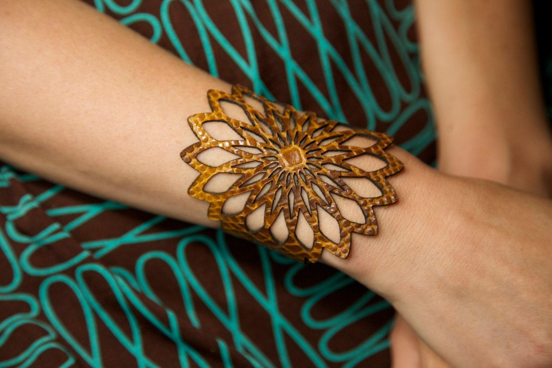 Laser Cut Leather Bracelet Cuff With Geometric Flower Design