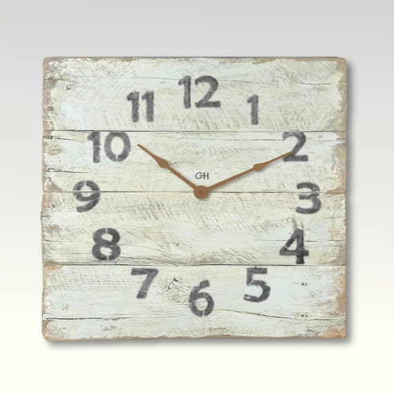 Rustic Wall Clock Shabby Chic Beach Decor In Creme White Coastal Theme