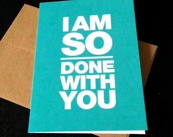 GC086 Funny break-up card. Pissed-at-spouse card.
