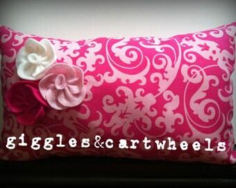 Pink damask nursery throw pillow, pink damask home decor, children's throw pillow