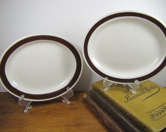 Set of Two (2) Small Homer Laughlin Platters - White With Brown Rims
