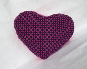 Medium sized, soft heart cushion - pink and purple