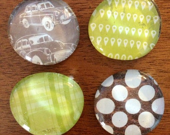 glass magnets - antique car magnets - stone magnets - pebble magnets -  set of 4 - refrigerator magnets