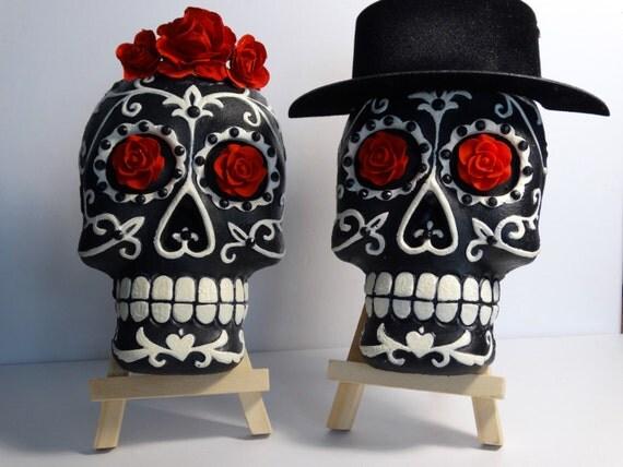 Dia de los muertos sugar skull couple bride and groom for Sugar skull wedding dress