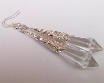 Art Deco Earrings , Clear Earrings , Clear Teardrop Earrings , Silver Earrings , Statement Earrings , Handmade Jewelry , Art Deco Earrings