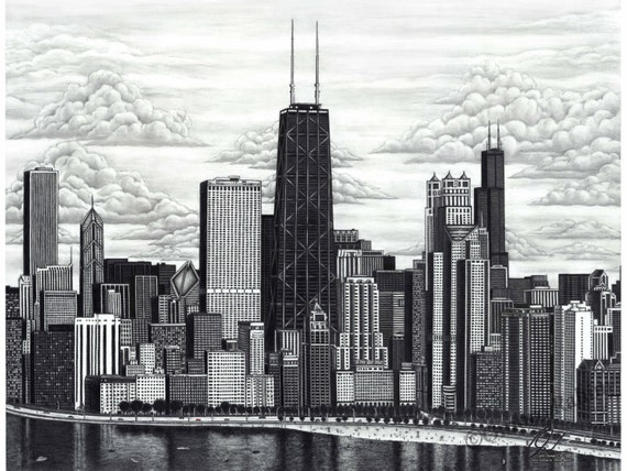 Chicago Skyline Drawings Drawing Chicago Skyline