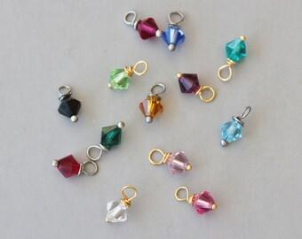 Add a Swarkovski Crystal Birthstone Drop,Silver or Gold Wire Wrapped Birthstone,Add a Channel Drop,Personalized Jewelry,Add on Birthstone