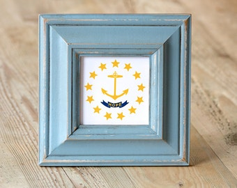 "Just marked down 15.00 OFF ~ RI ""Hope"" State Flag, Handpainted Frame, Wood Frame, Blue, Rhode Island, Hope, Little Rhody"