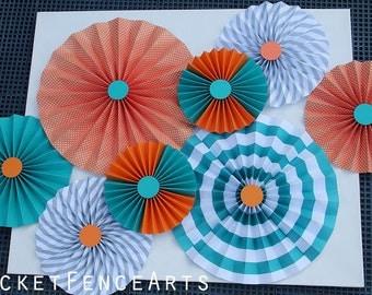 Orange and Teal Paper Rosettes, Paper Fans Backdrop, Orange and Teal Nursery Decor, Orange and Teal Baby Shower, Orange and Teal Wedding