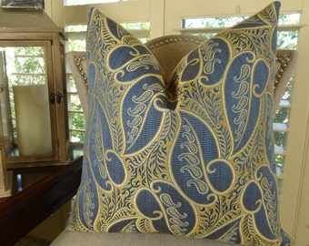 SET OF 4 pillow covers - Blue Paisley Decorative Throw Pillow Cover - Blue Taupe Cream Pattern Pillow - Blue Paisley Pillow - 11362