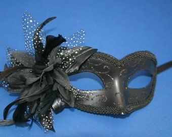 Black Masquerade Mask with Beautiful Flower Detail