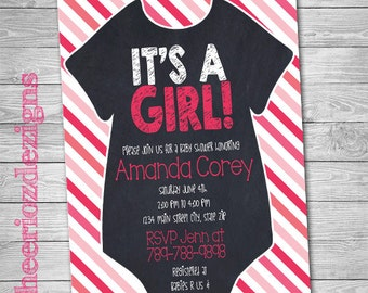 It's a Girl- Baby Shower Invitation- Chalkboard- Stripes