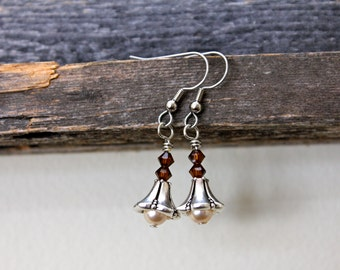 "Brown & Peach ""Lampshade"" Earrings"