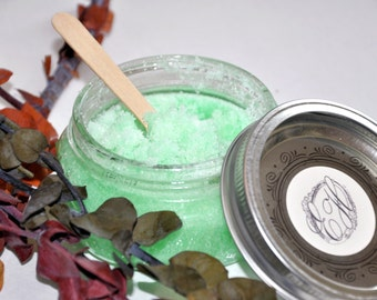 Sugar Scrub with Eucalyptus and Tea Tree Essential Oils; Exfoliating and Moisturizing Eucalyptus Tea Tree Sugar Scrub