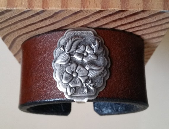 "Women's BROWN 6"" LEATHER BRACELET with Antique-Silver Wild Rose Concho. Lined. Medium Wide Cuff Wristband. Floral Western. Hook & Eye Clasp."