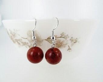 Red coral earrings, Sponge coral earrings, Sterling Silver, Dangle, Gemstone earrings
