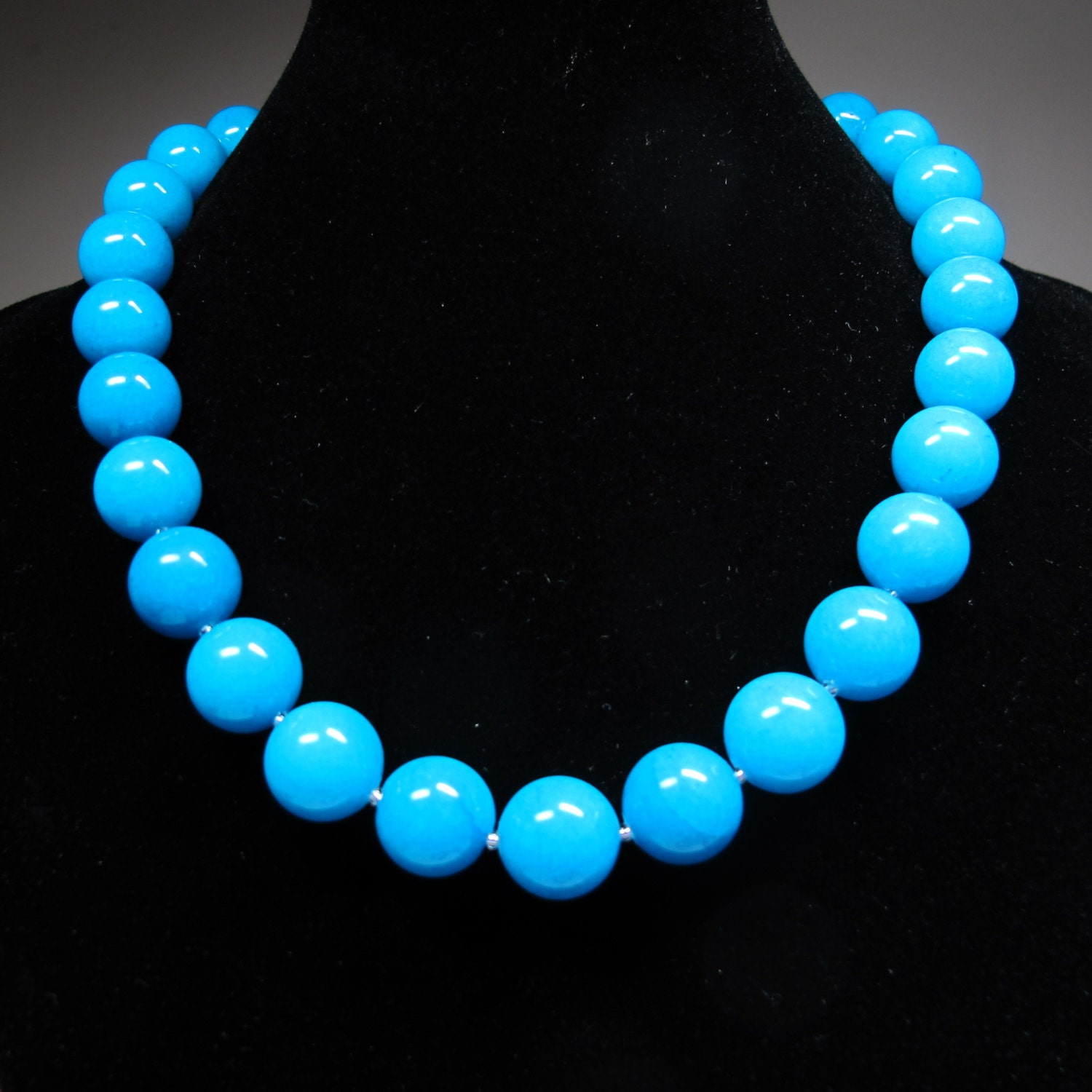 bright blue necklace gemstone necklace chunky turquoise jade