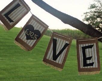 Burlap 'Love' Banner