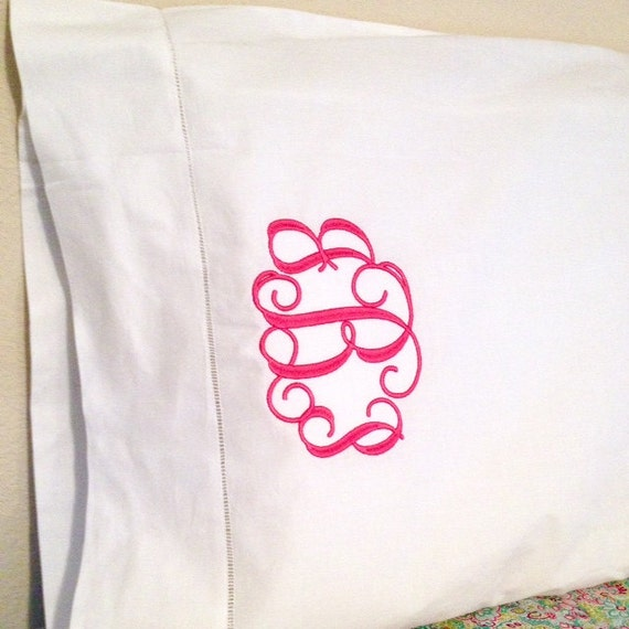 Monogrammed Embroidered Hemstitched Pillowcases Set of Two Personalized Bedding Home Decor Linens