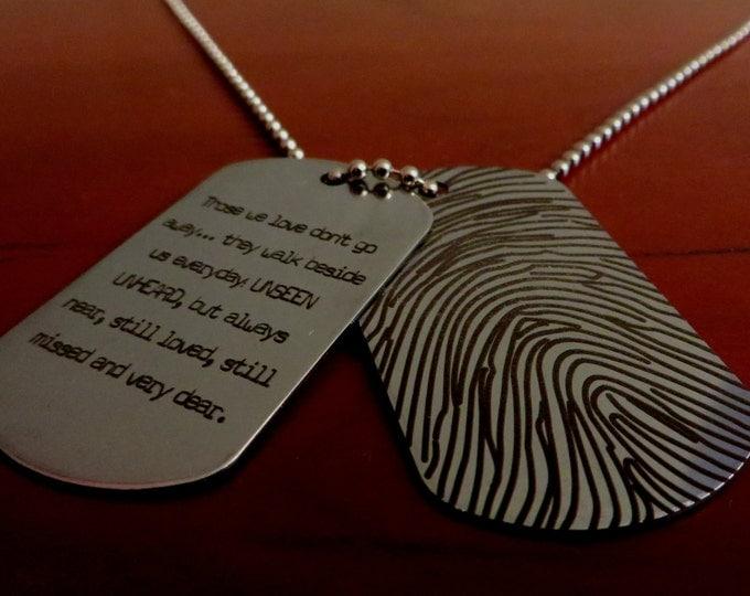 Custom Fingerprint Dog Tag - Your fingerprint laser engraved -Stainless Steel- One Dog Tag engraved- both sides,