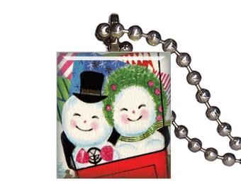 Vintage Christmas Snowman Couple - Reclaimed Scrabble Tile Pendant Necklace