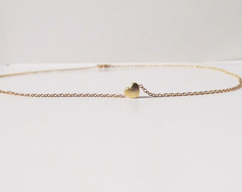 tiny gold heart necklace dainty love friendship birthday bridesmaids gift
