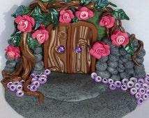 Rose Garden Fairy Door. Polymer Clay Fairy Door, Pixie Portal, Magic Door, Faerie Door, Fantasy, Myth, Roses, Fairy Dust, Handmade, OOAK