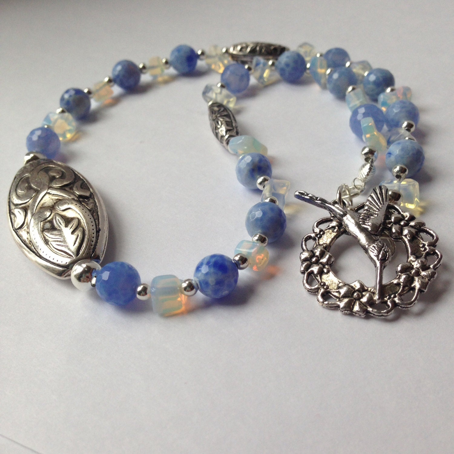 hummingbird necklace blue lace agate and opalite necklace