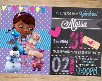 Doc Mcstuffins Birthday Invitation Chalkboard - Doc Mcstuffins Invitation - Doc Mcstuffins Invite - DIGITAL
