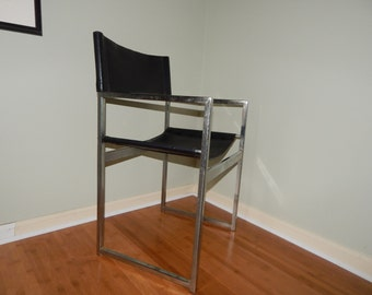 Mid Century Modern Black and Chrome Chair, black leather, studio chair
