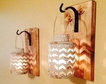 Rustic gray lantern, Wall decor, Rustic bathroom decor ,Wall sconce, Wall hanging, Bedroom decor, Kitchen decor, Rustic hanging lantern