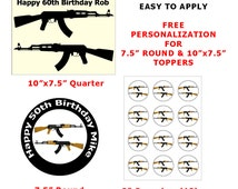 AK-47 Assault Rifle Gun Cake Toppers - Personalized Edible Image Cake and Cupcake Toppers Decorations on Edible Wafer Rice Paper