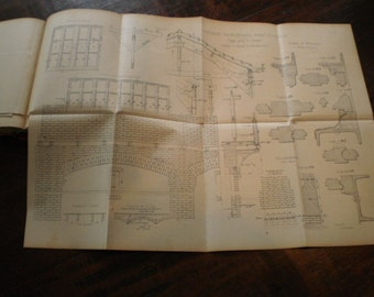 Antique French construction book, building book, architectural book, 5