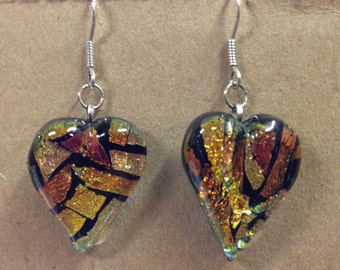 """Fused Dichroic Heart earrings with sterling silver wires 1"""" x 11/16"""" inches wide"""