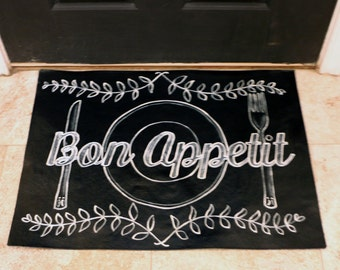 Bon Appetit Chalkboard-look Floorcloth