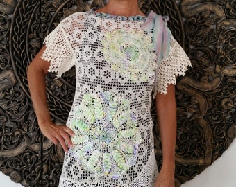 Ooak Recycled Lace and Doilie Tunic Top