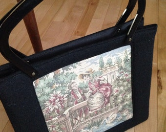 Handbag with Tapestry Inset and Lucite Handles ~ Victorian Scene Purse ~ Vintage Handbag ~ Retro Purse ~ Ladies Bag ~ Movie or TV Prop