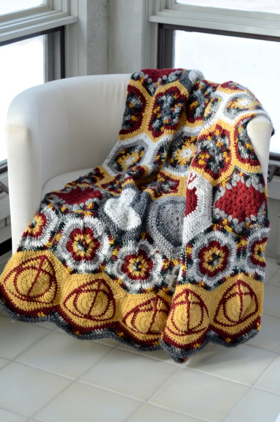 Hallows and Marauders Afghan CROCHET PATTERN Instant Download