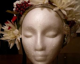 Snow Flower Headdress, Elven Butterfly Princess, Yule Fantasy Faerie Crown