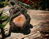 Beautiful Hand Made OOAK Copper Wire Woven Fire Opal with Garnet Accent